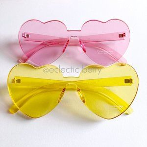 """Sweetshop"" Frameless Monoblock Heart Sunglasses"